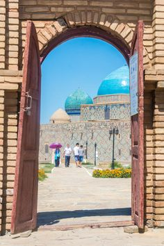A peek at the stunning blue domes of the Mausoleum of Khawaja Ahmed Yasawi in Turkestan, Kazakhstan. Unesco, Kazakhstan Travel, Epic Photos, Silk Road, Central Asia, Eastern Europe, Travel Backpack, Backpacking, Places Ive Been