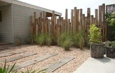 Yard fence of chestnut posts. Garden design and landscaping company. Yard fence of chestnut posts. Garden design and construction landscaping company of Elsäcker Garden. Indoor Garden, Outdoor Gardens, Building A Fence, Exterior, Landscaping Company, Garden Landscaping, Garden Fencing, Fence Design, Small Gardens