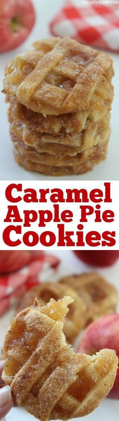 Caramel Apple Pie Cookies -Easy fall cookie. Pastry crust, warm gooey caramel and apples...