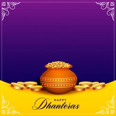 Gold Kalash With Decorated Diya For Happy Dhanteras Diwali Festival Holiday Celebration Of India Greeting Background Stock Vector - Illustration of greeting, decoration: 129712945 Happy Dhanteras Hd Images, Happy Dhanteras Wishes, Diwali Wishes, Diwali Status In Hindi, Happy Diwali Status, Diwali Wallpaper, Festival Information, Diwali Images, Diwali Celebration