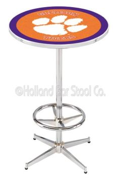"""Clemson Tigers (L216) 42"""" Tall Logo Pub Table by Holland Bar Stool Company (with Chrome Base and 28"""" Table Top Diameter)"""