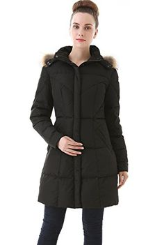 Jessie G Womens Water Resistant Down Parka Coat  Black Small *** Details can be found by clicking on the image.