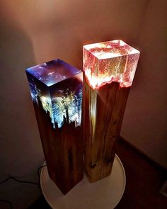 Diy Resin Lamp, Diy Resin Crafts, Wood Resin Table, Epoxy Resin Wood, Resin Furniture, Thrift Store Crafts, Wood Lamps, Creations, Projects