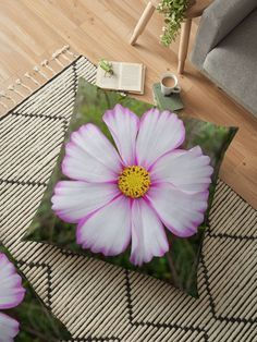 'Winter Cosmos Flower in Pink Floor Pillow by ellenhenry Floral Cushions, Flower Tattoo Designs, Carnations, Hibiscus, Floor Pillows, Cosmos, Pillow Covers, Sweet Home, Doodles