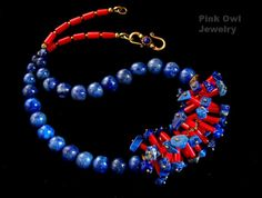 Natural Blue Lapis Lazuli Red Coral Necklace in by pinkowljewelry, $149.00