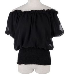 White/ Beige/ Black Peasant Boho Style Smocked Waist Chiffon Loose Blouse Short Top For Women