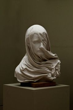 Portland stone Portrait Sculptures / Commission or Bespoke or Customised sculpture by artist Anna Rubincam titled: 'Veiled Woman (Carved stone Draped Veiled female sculpture Carving)'