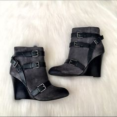 """Rebecca Minkoff Booties NWT & box. Rebecca Minkoff Wedge booties in a charcoal gray suede. Leather with a leather sole. Shaft is approx 6"""" from arch, heel is approx 3.5"""", boot opening is approx 10.5"""". Cute buckle detail. Rebecca Minkoff Shoes Ankle Boots & Booties"""