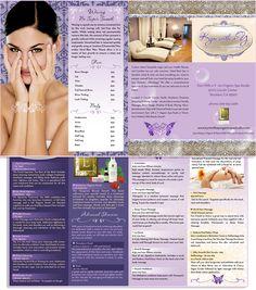 Medical Spa Brochure design, California Spa Brochure Menu, see more at http://www.kymwithayorganicspastudio.com/ - by Phrizbie Design