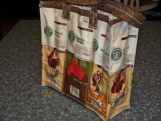 The Domestic Groove: Starbuck's Coffee Drinkers Unite - This is not your Mama'a Cup of Joe! Starbucks Crafts, Starbucks Coffee, My Coffee, Coffee Bags, Nitro Coffee, Cork Fabric, Coffee Packaging, Diy Recycle, Reuse