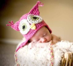 4 Colors Available, Baby Owl Hat, Newborn Photo Prop, crochet on Etsy, $16.00