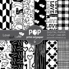 Love digital paper, Valentines day digital paper, Black & White digital paper, romantic digital paper, instant download, digital scrapbook