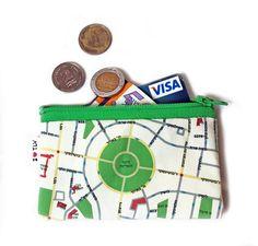 Tel Aviv Map Wallet with green zipper a souvenir from by efratul, $10.00