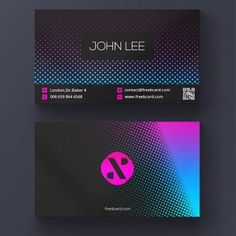 Modern business card with vibrant colors Modern Business Cards, Business Card Logo, Business Card Design, Luxury Logo Design, Graphic Design, Layout, Member Card, Visiting Card Design, Purple Wallpaper Iphone