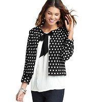 Polka Dot Jacquard Bow Jacket - Starring a satiny bow tie closure - and darling polka dots - were tied up with endless adoration for this cropped style. Elasticized neckline. 3/4 dolman sleeves. Lined. 19 1/2 long.