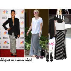 """Spring Trend - Stripes in a maxi skirt"" by wantering on Polyvore"