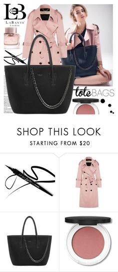 """LaBante London"" by gaby-mil ❤ liked on Polyvore featuring Balmain, Burberry, black, bag, tote and labantelondon"