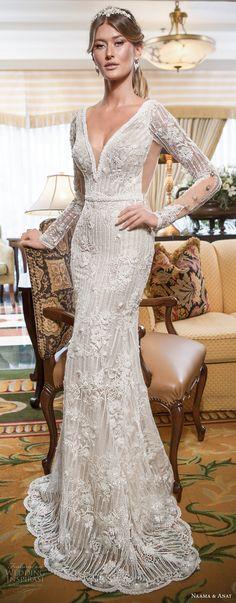 naama and anat 2018 bridal long sleeves deep v neckline full embellishment elegant fit and flare wedding dress open low v back sweep train (amore) mv -- Naama