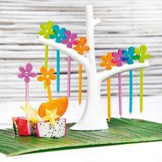 Party Piekser Set A-Pril transparent tree with olive / orange / lagoon / pink