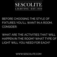 Before choosing the style of fixtures you'll want in a room, consider:   What are the activities that will happen in the room? What type of light will you need for each? #lighting #homedecor #decorative #interior