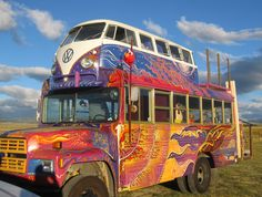 Volkswagen bus on top of a school bus...a skoolie!  Twist of fate partybus fabricated by SoCal Paint Works