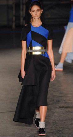 Roksanda Ilincic black with royal blue geometric diamond design