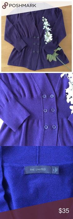 Purple Button Cardigan Royal purple colored cardigan with about 3/4 length sleeves, maybe a tad longer. 3 sets of double buttons. Excellent condition! The Limited Sweaters