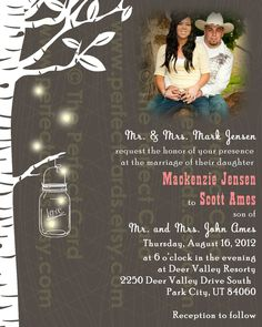 Firefly Mason Jar Wedding Photo Invitation by perfectcards on Etsy, $18.00