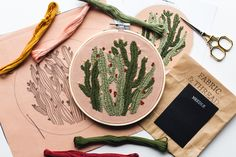 Hand Embroidery Kit by Walker Boyes Cactus Embroidery, Embroidery Kits, Needle And Thread