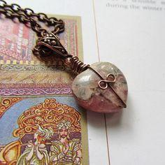 Necklace Rhodochrosite  Pink Grey Green  Lady by SuzyRocksDesigns, $28.00