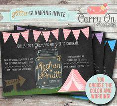 omg so cute!! Glitter GLAMPing Mason Jar Firefly DIGITAL Birthday Party or Bachellorette Invitation (CUSTOMIZABLE)