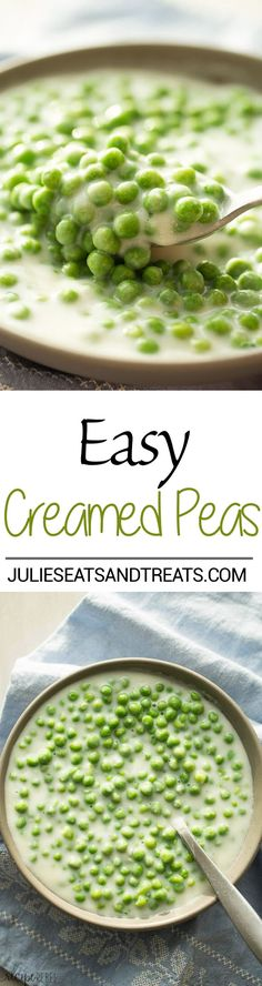 This Creamed Peas Recipe comes together quickly and so easily — the perfect holiday side dish! Source by julieseats Pea Recipes, Side Dish Recipes, Vegetable Recipes, Vegetarian Recipes, Cooking Recipes, Healthy Recipes, Dishes Recipes, Veggie Food, Quick Recipes