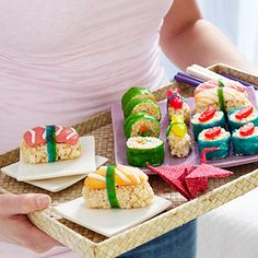 "Japanese Tea Party with colourful sushi. OR sweet ""sushi"" that's not fish? Rice Crispy Treats, Krispie Treats, Rice Krispies, Cute Food, Yummy Food, Sweet Sushi, Japanese Party, Japanese Birthday, Dessert Sushi"