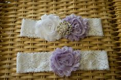 Lavender Purple and White Rhinestone Wedding Garter Set, Bridal Garter, Wedding Garter, Shabby Chic Garter, Satin Garter
