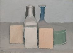 Giorgio Morandi. this artist has used simple light colours in this drwaing has about 6 diffrenmt bottles the 3 bottles at the front look like boxes. this painting was drawn around 1933.
