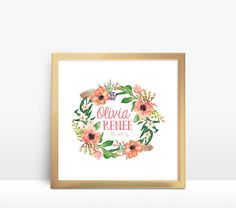 Floral Wreath Customized Name Nursery Printable by redpearldesigns - $10