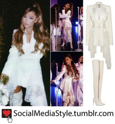 "ab5ae49d181 Ariana Grande s White Lace Blazer and Over-the-Knee Boots from ""The Ellen  DeGeneres Show"""