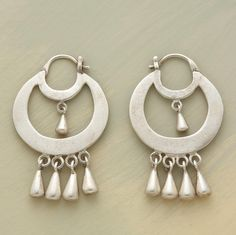 "ARTISTA EARRINGS -- An ode to Thirties' painter Frida Kahlo, Jane Diaz's bead-bedecked sterling silver hoops combine native Mexican influence with a modern museum sensibility. Handcrafted with snapdown posts. Exclusive. 1-1/4""L."