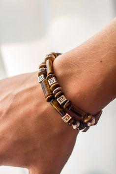 """Man's bracelet """"Voyager"""", handmade item from tiger-eye & bijou metal #handmade #bijou #bracelet"""