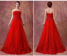 Red lace strapless style with toast the bride wedding dress clothes