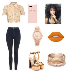 """""""Stylish"""" by elodie-placide ❤ liked on Polyvore featuring Giuseppe Zanotti, Topshop, self-portrait, Michael Kors, Kate Spade, Lime Crime and Red Camel"""
