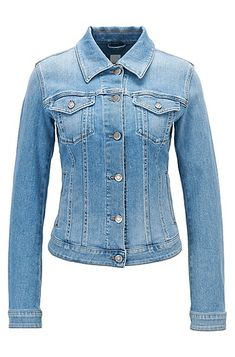 An authentic, comfortable stretch-denim jacket by BOSS Womenswear.  Cut for a contemporary streamlined fit, this flattering style is presented in a fresh light-blue colour and treated for a lived-in look with natural abrasions, bleaching and stone washing.  Branded buttons and twin chest pockets create a timeless look and make this an easy-to-combine, staple piece.