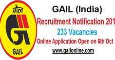 GAIL Recruitment Notification 2016:  GAIL (India) Limited announced about its 2016 recruitment and this recruitment is for 233 posts in E-...