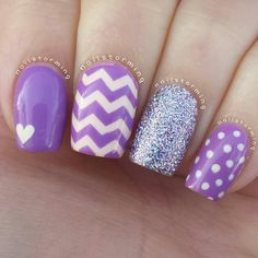 Chevron nails. Polka dots. Glitter. Heart. Purple. Nail Art. Nail Design. Polish. Manicure.