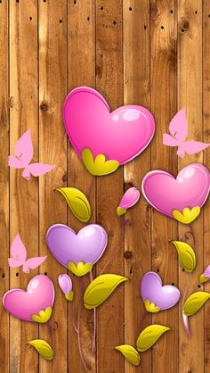 Wood based Heart Wallpaper with Pink
