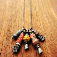 Necklace with Handmade Recycled Paper Bead Charms by artspell, $29.00