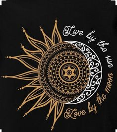 "Illustration Moon ""Live by the sun, love the moon"" Illustration Mond ""Lebe von der Sonne, liebe den Mond"" Sun Tattoos, Trendy Tattoos, Body Art Tattoos, Tatoos, Celtic Tattoos, Small Tattoos, Mandala Art, Sun Mandala, Mandala Sun Tattoo"