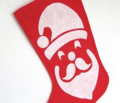 Santa Modern Christmas Stocking  Choose Your by stitcholicious, $18.00