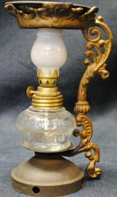 "Vapo Cresoline Medical Miniature Vaporizer Oil Lamp 6"" tall, 3 ½' wide"