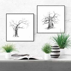 Printable ink drawings of baobab trees for your home. Visit my Etsy store for a range of prints and print sets inspired by African nature. #DIY #forbedroom #livingroom #large #printable #painting #livingroommodern #livingroomartwork #simple #diningroom #modern #drawing #forbedroomDIY #livingroompictures #forbedroompaintings #collage #prints #ideas #design #etsy Grey Wall Art, Black And White Wall Art, Artwork For Living Room, Living Room Pictures, Wall Art Decor, Wall Art Prints, Giraffe Drawing, Modern Drawing, Baobab Tree